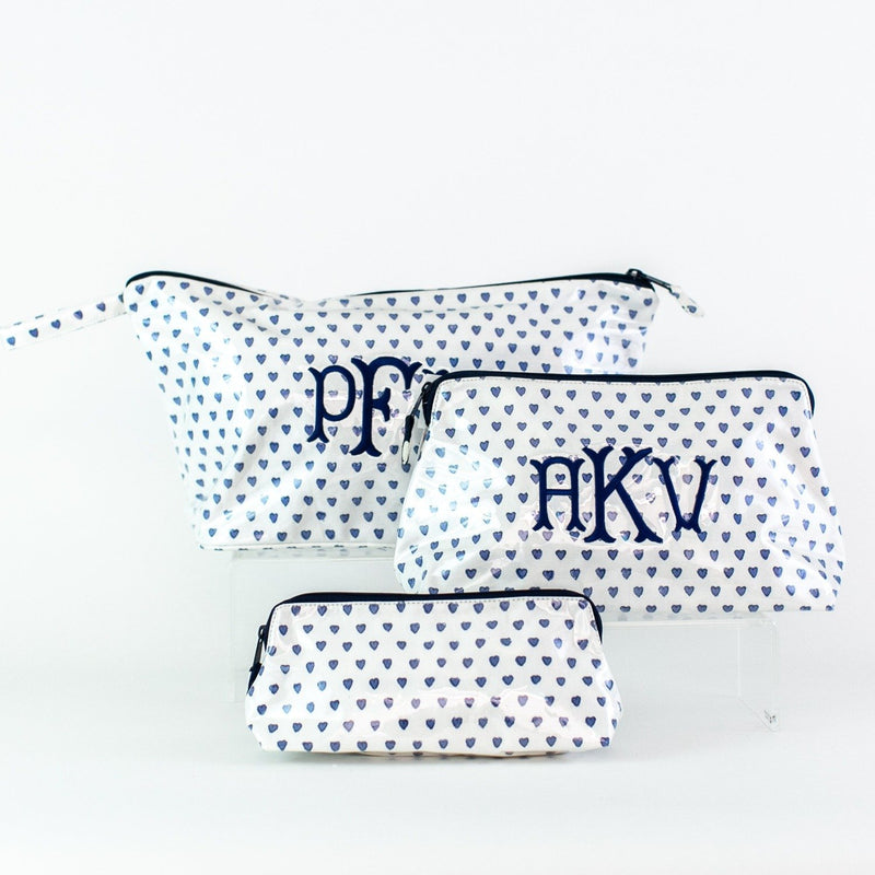 Monogrammed Blue Hearts Coated Makeup and Toiletry Case - Roller Rabbit - Small, Medium, Large