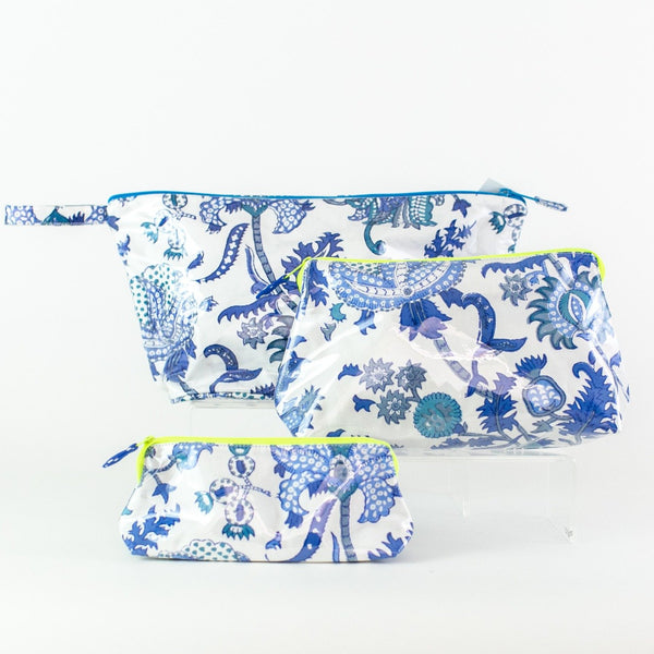 Blue Amanda Coated Makeup and Toiletry Case - Small, Medium, Large
