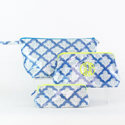 Roller Rabbit Blue Jemina Coated Makeup and Toiletry Case - Add a monogram - small, medium, and large