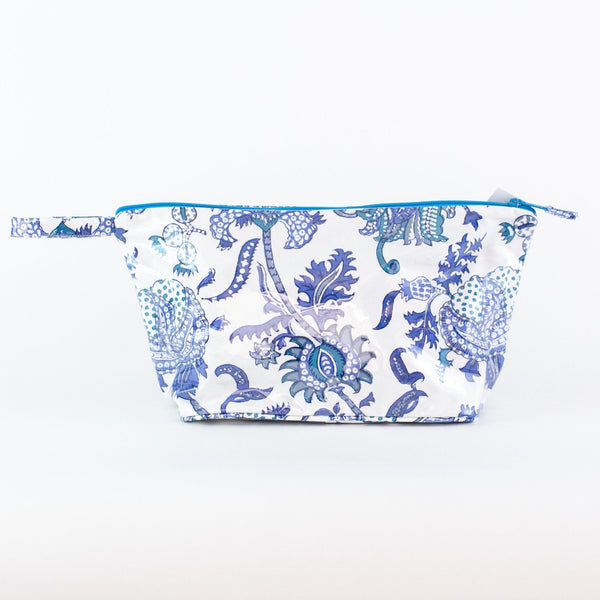 Blue Amanda Coated Makeup and Toiletry Case - Large