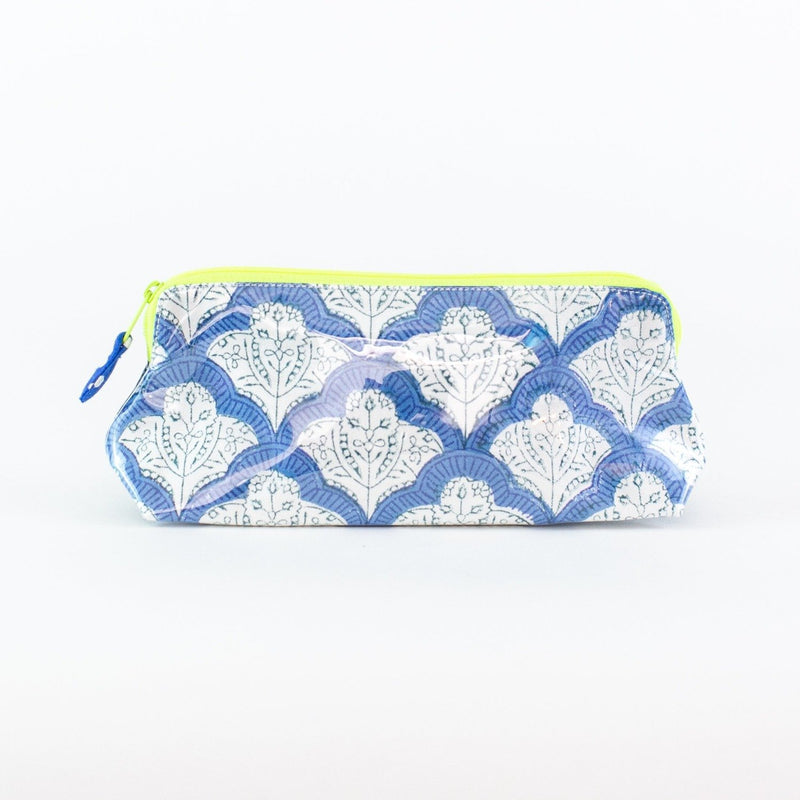 Blue Jemina Coated Makeup and Toiletry Case