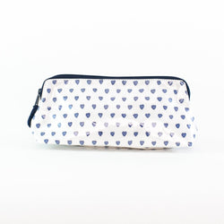 Monogrammed Blue Hearts Coated Makeup and Toiletry Case - Roller Rabbit