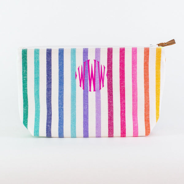 Striped Travel Bag - Monogrammed - El Angel (rainbow)