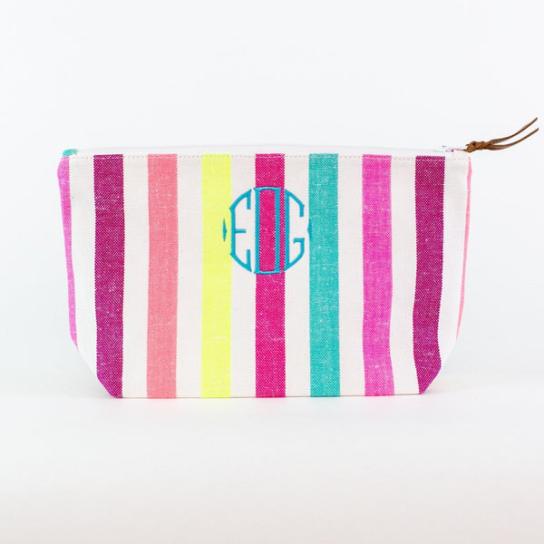 Striped Travel Bag - Monogrammed - El Eduardo (pinks, turquoise, and yellow)