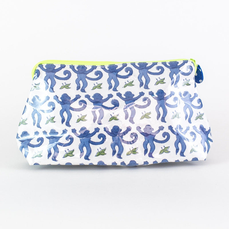 Roller Rabbit Blue Monkey Coated Makeup and Toiletry Case - Add a Monogram - Medium