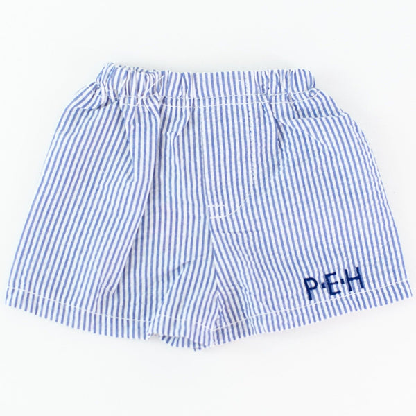 Seersucker Shorts - Navy - Personalize