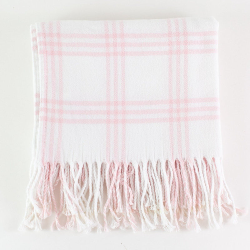 Monogrammed Flannel Check Baby Blanket - White and Pink