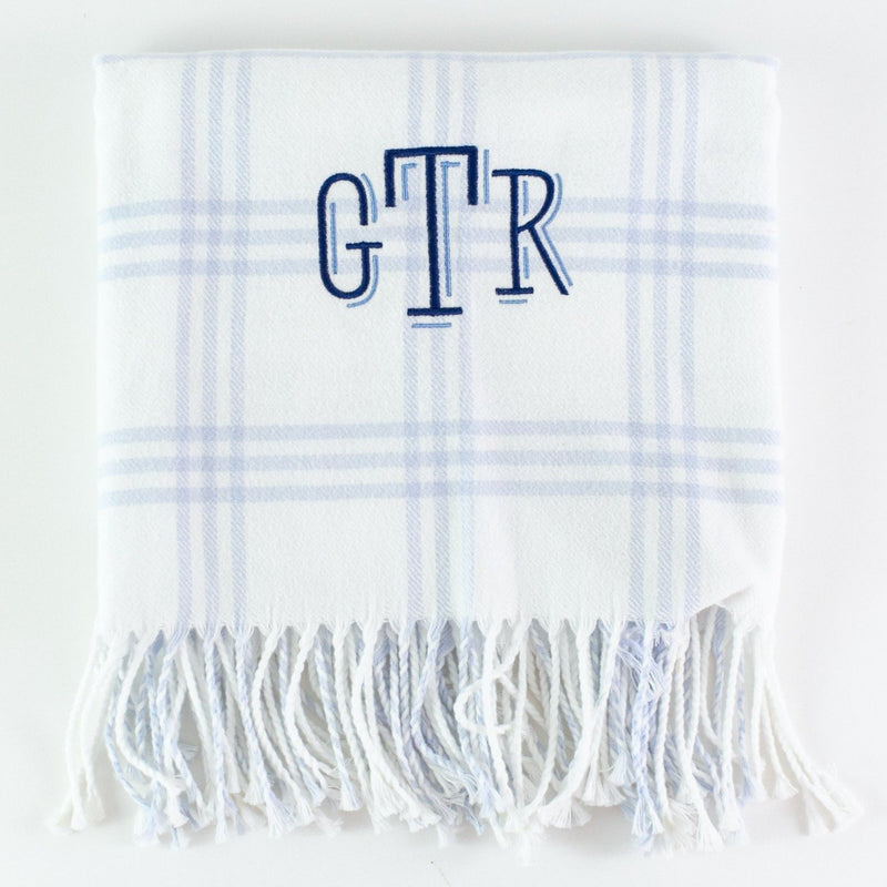 Monogrammed Flannel Check Baby Blanket - White and Blue