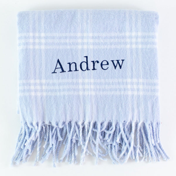 Monogrammed Flannel Check Baby Blanket - Blue and White