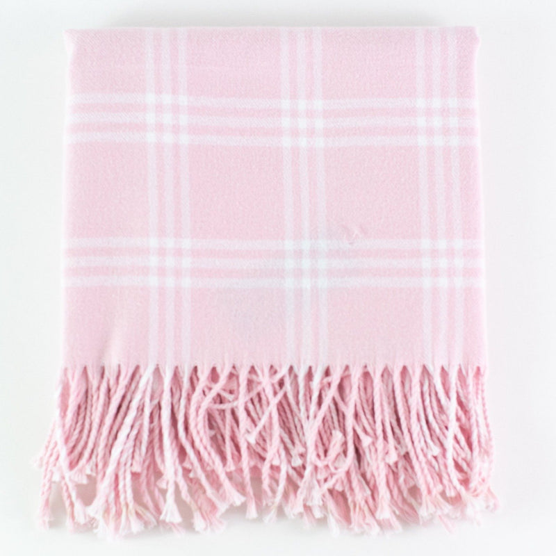 Monogrammed Flannel Check Baby Blanket - Pink and White