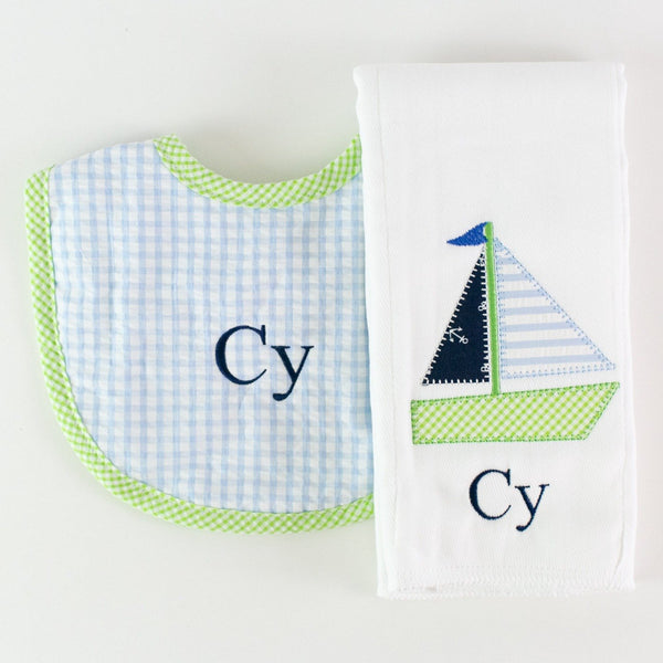 Monogrammed or Personalized Burp Pad & Bib Set