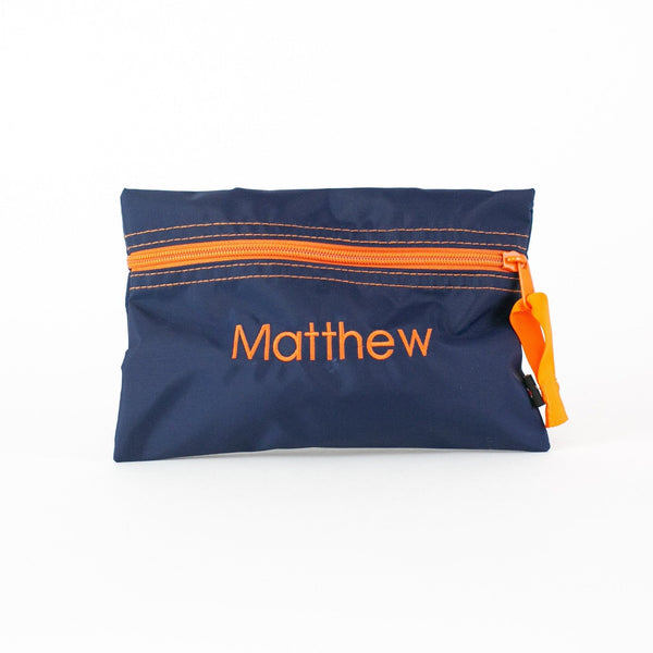 Personalized or Monogrammed Flat Zip Pouch - Navy & Orange