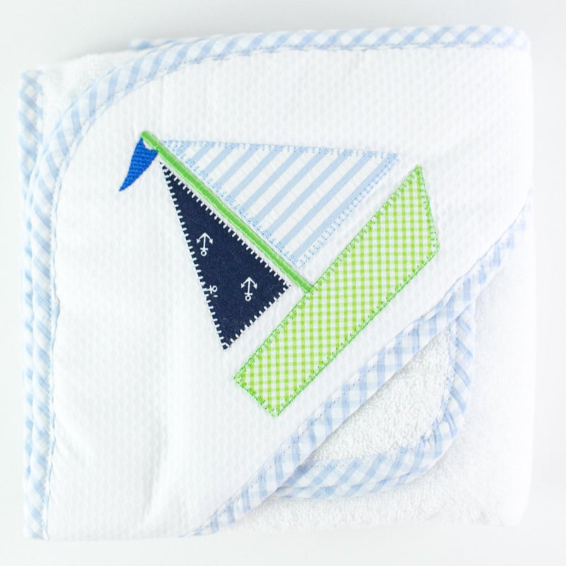 Applique Hooded Towel and Washcloth Set - Sailboat