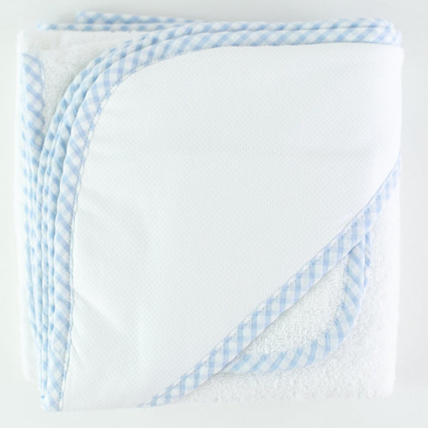 Monogrammed Gingham Hooded Towel & Washcloth Set - Light Blue