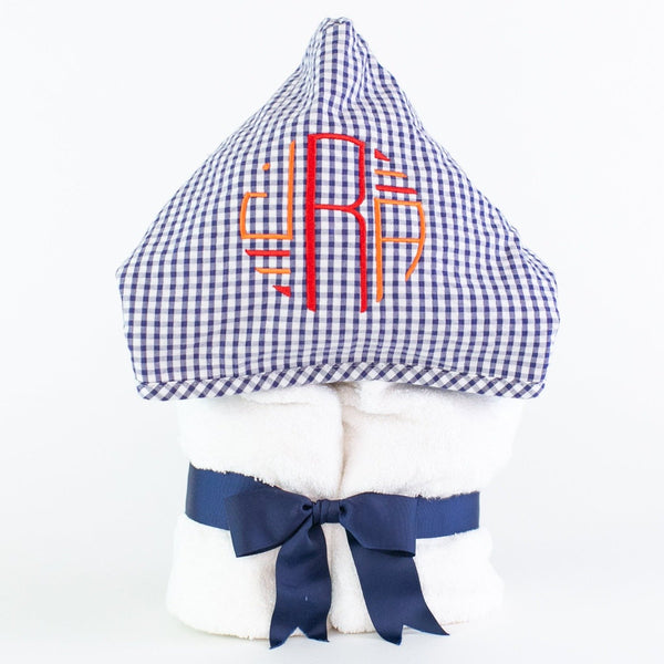 Large Hooded Towel - Monogrammed - Navy Gingham