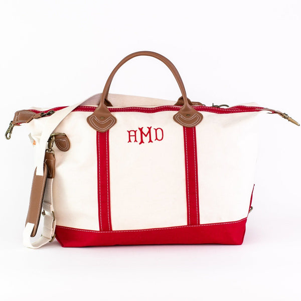 Canvas Weekender Duffel - Red - Monogrammed