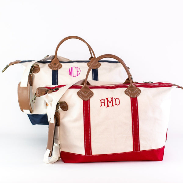 Canvas Weekender Duffel - Navy and Red - Monogrammed