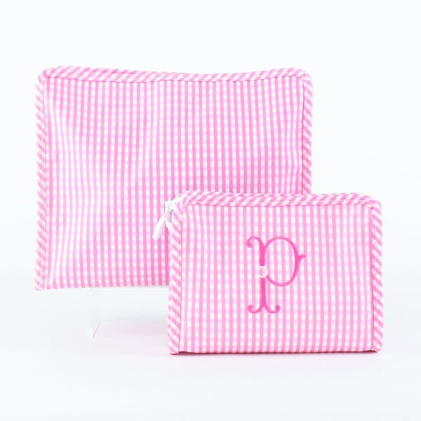 Pink Gingham Roadie Case, Small, Medium, Large - Monogram or Personalize