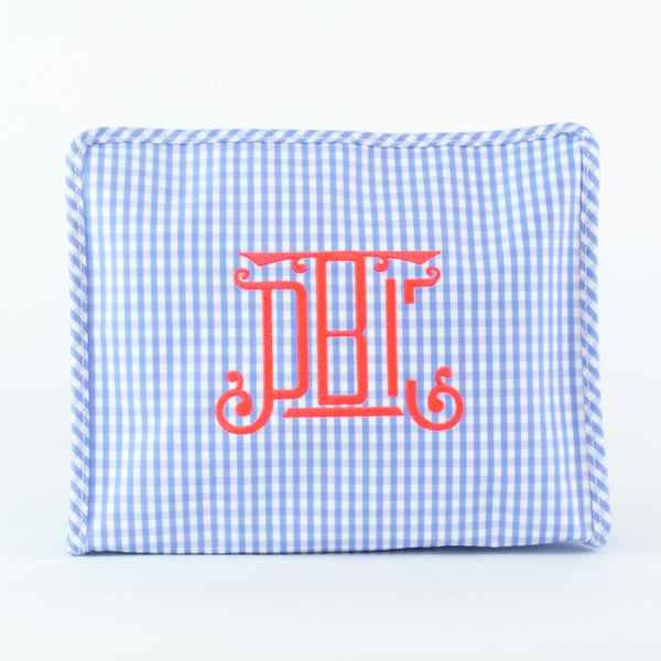 Light Blue Gingham Roadie Case - Monogrammed