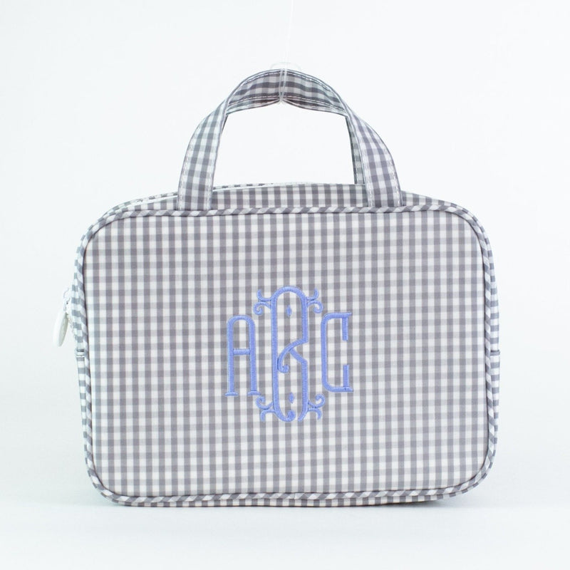 Monogrammed Gingham Carry-on Case - Gray