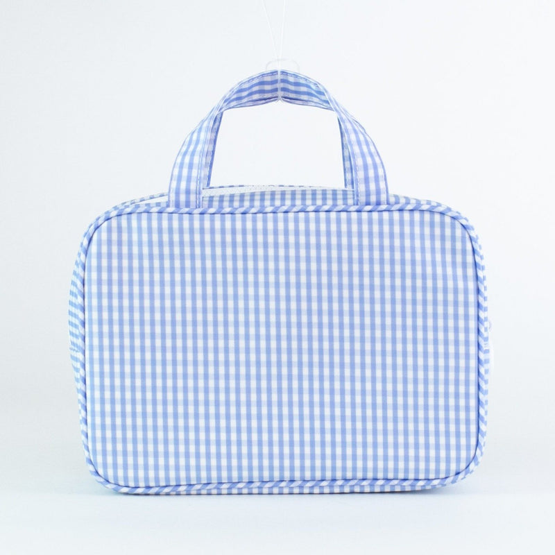 Monogrammed Gingham Carry-on Case - Blue