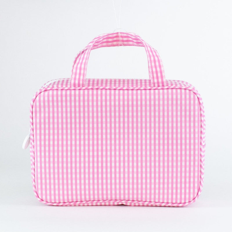Monogrammed Gingham Carry-on Case - Pink