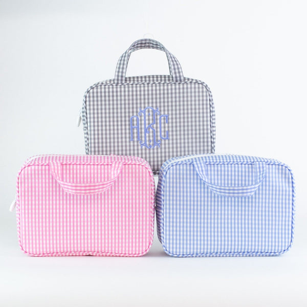 Monogrammed Gingham Carry-on Case
