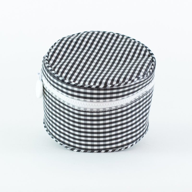 Monogrammed Gingham Jewelry Case - Black