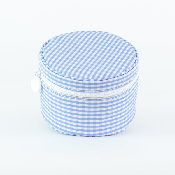 Monogrammed Gingham Jewelry Cases - Light Blue