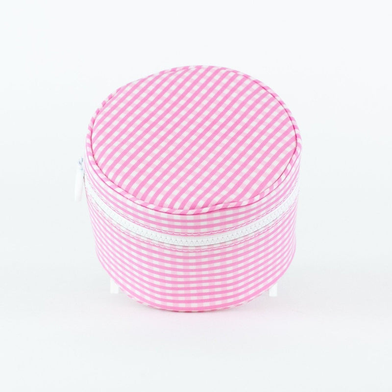 Monogrammed Gingham Jewelry Cases - Pink