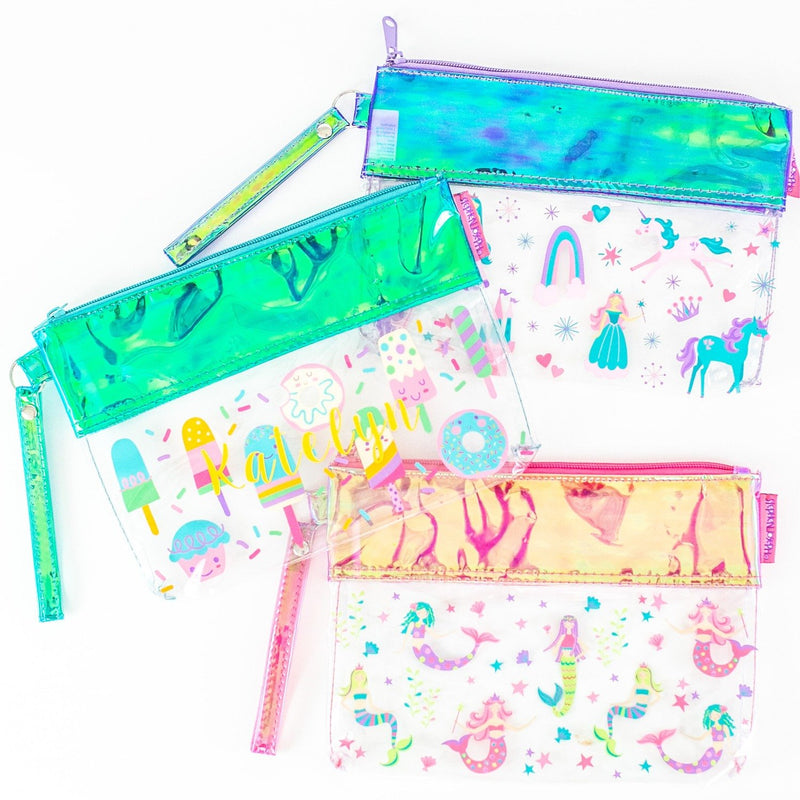 Monogrammed Girls Clear Wristlets with Fun Prints