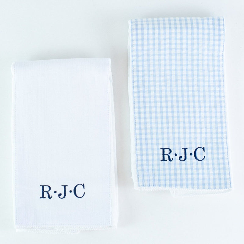 Monogrammed Burp Pad Set - White and Blue