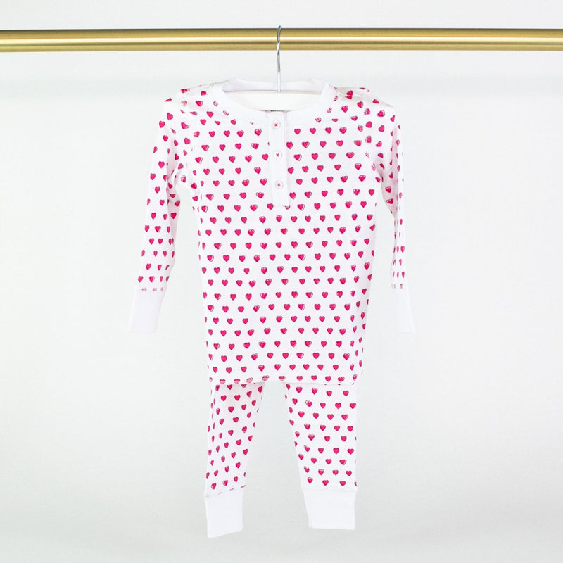 Pink Hearts Children's Pajamas - Monogram or Personalize