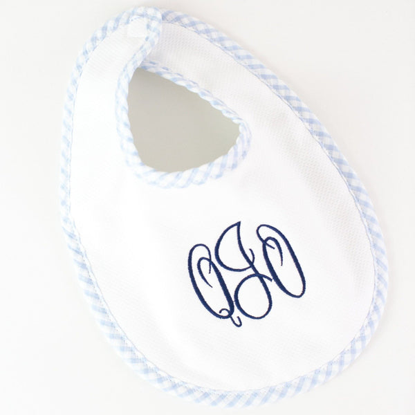 Pique Bib - Blue - Monogrammed or Personalized