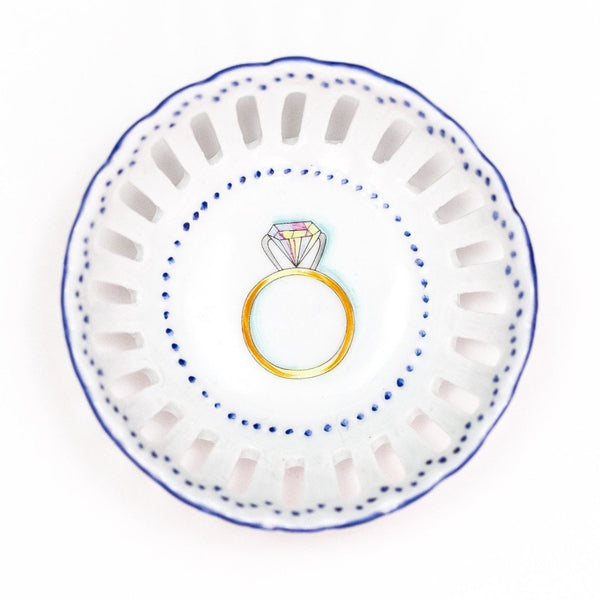Hand painted porcelain ring dish - blue engagement