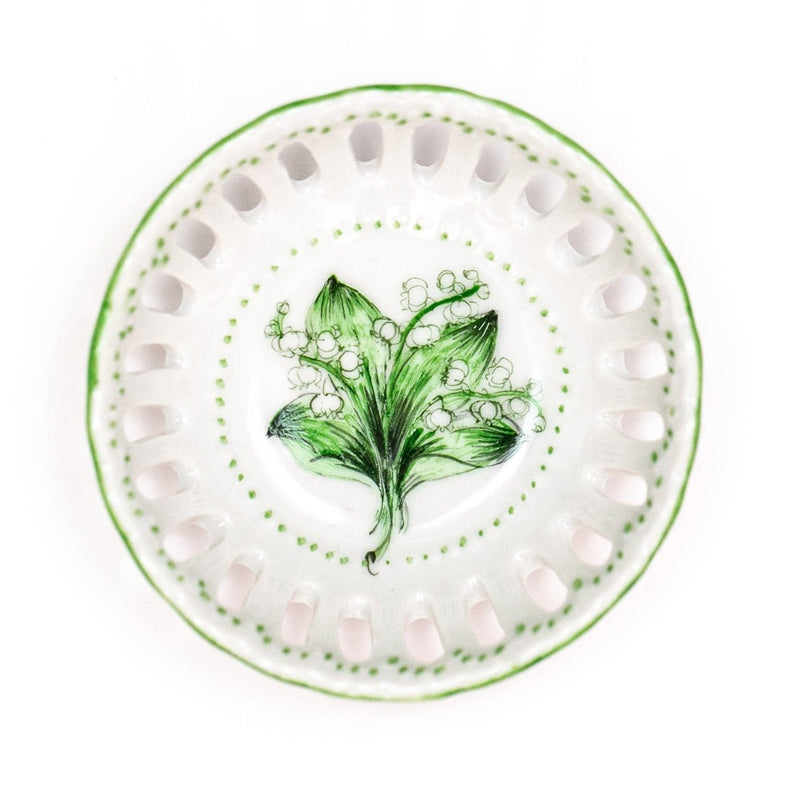 Hand painted porcelain ring dish - Lillies of the Valley