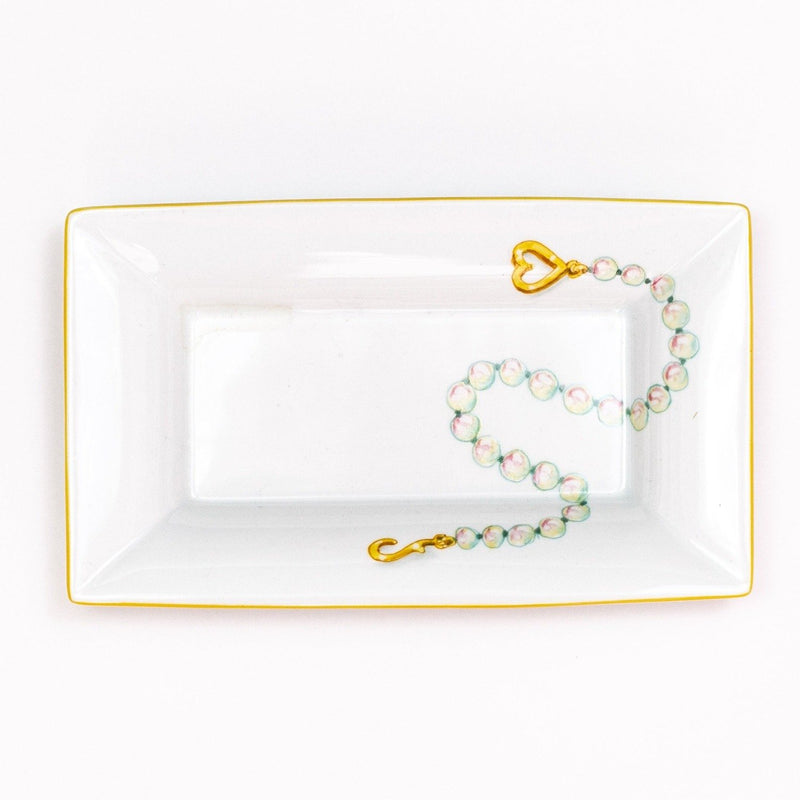 Hand painted porcelain Pearl Necklace Rectangular Dish