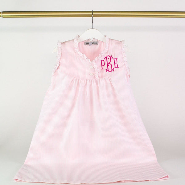 Pink Seersucker Nightgown - Monogrammed or Personalized