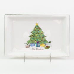 Hand painted Christmas Tree porcelain tray - can be personalized with family names