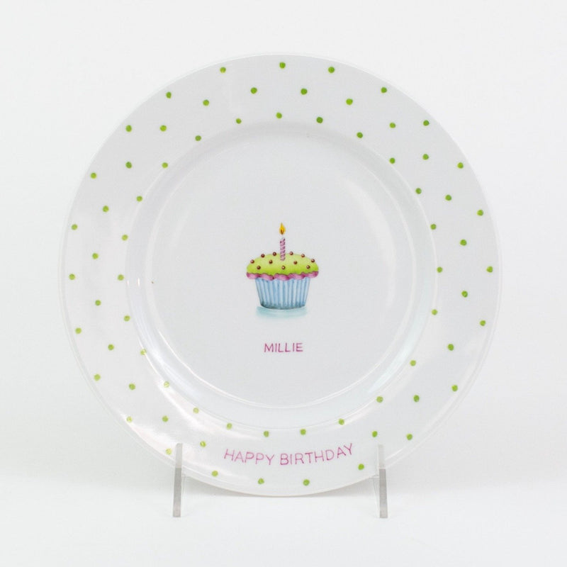 Personalized hand painted porcelain birthday plate - pink with green