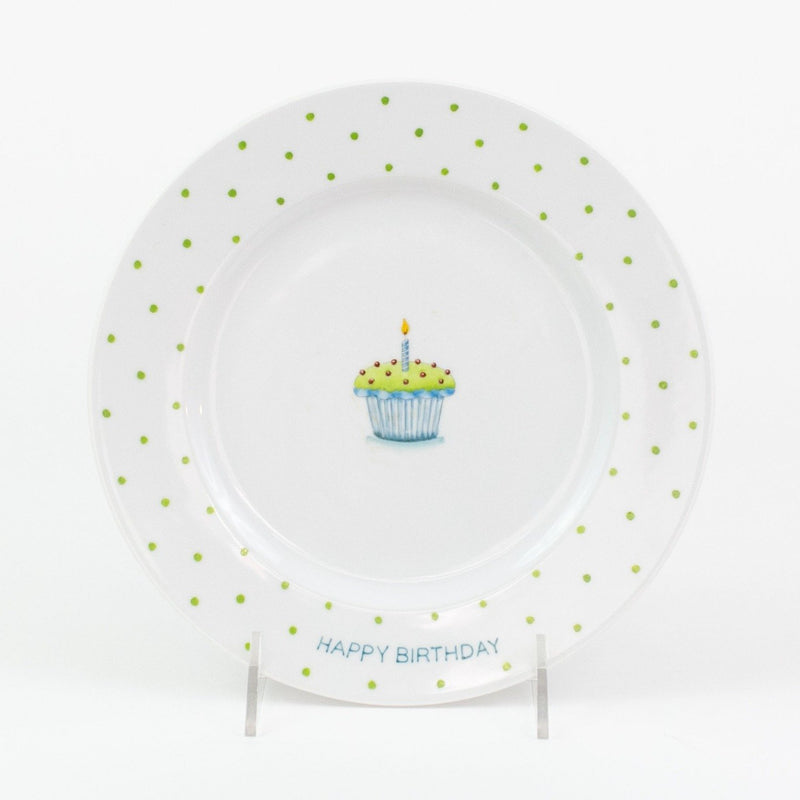 Personalized hand painted porcelain birthday plate - blue with green