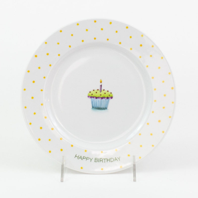 Personalized hand painted porcelain birthday plate - green with yellow