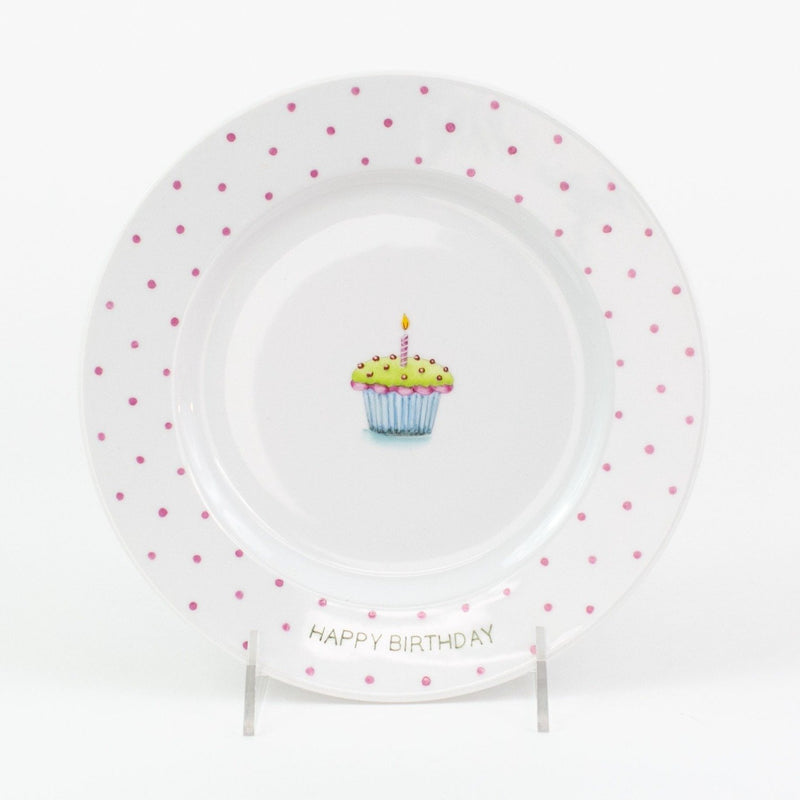 Personalized hand painted porcelain birthday plate - green with pink