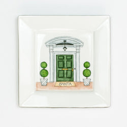 Hand painted porcelain Front Door Square Tray