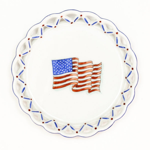 Hand-painted Wine Coaster - American Flag Motif