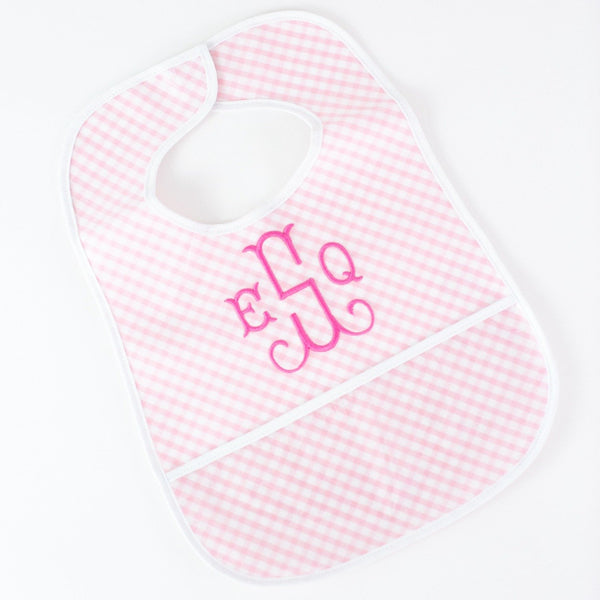 Laminated Bib - Pink Gingham - Personalized or Monogrammed
