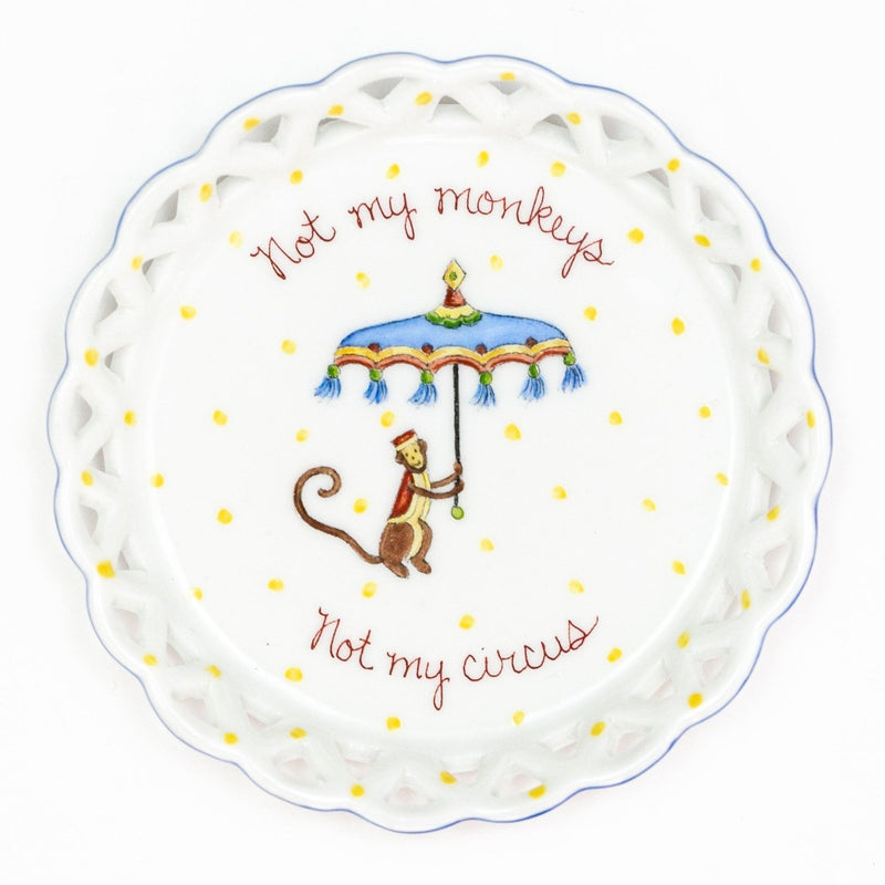 Hand painted porcelain Not My Monkeys Wine Coaster