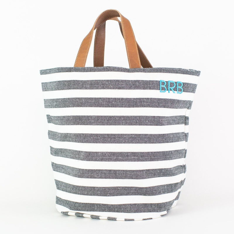 Striped Market Bag - Monogrammed or Personalized - El Raul (dark gray and white)