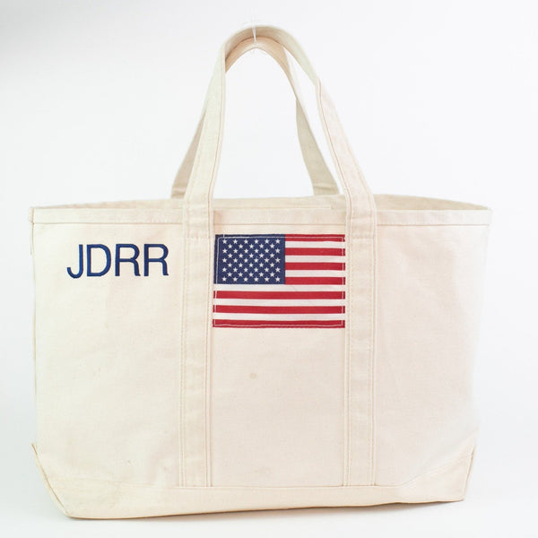 Monogrammed USA Flag Boat Tote