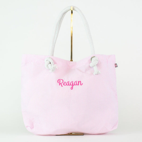 Seersucker Rope Tote - Pink - Personalized or Monogrammed